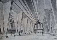 Paul Andrae, expressionistischer Enwurf Messehalle 1924
